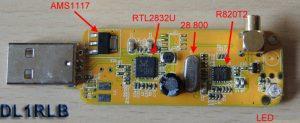 DvB-T Stick geöffnet und Beschriftet DL1RLB