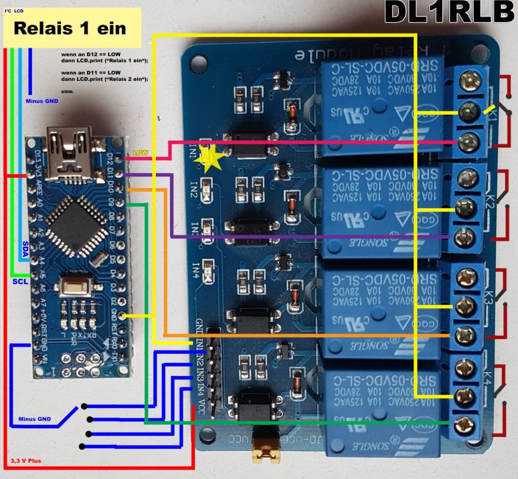 Arduino Nano und Relaiskarte mit einem I²C LCD Display